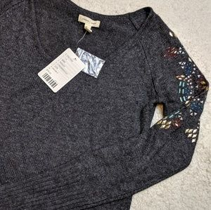 NWT Silence +Noise Grey Angora Jewel Sweater